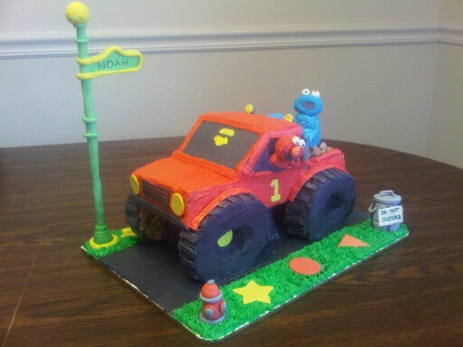Elmo Truck Cake Inspiration