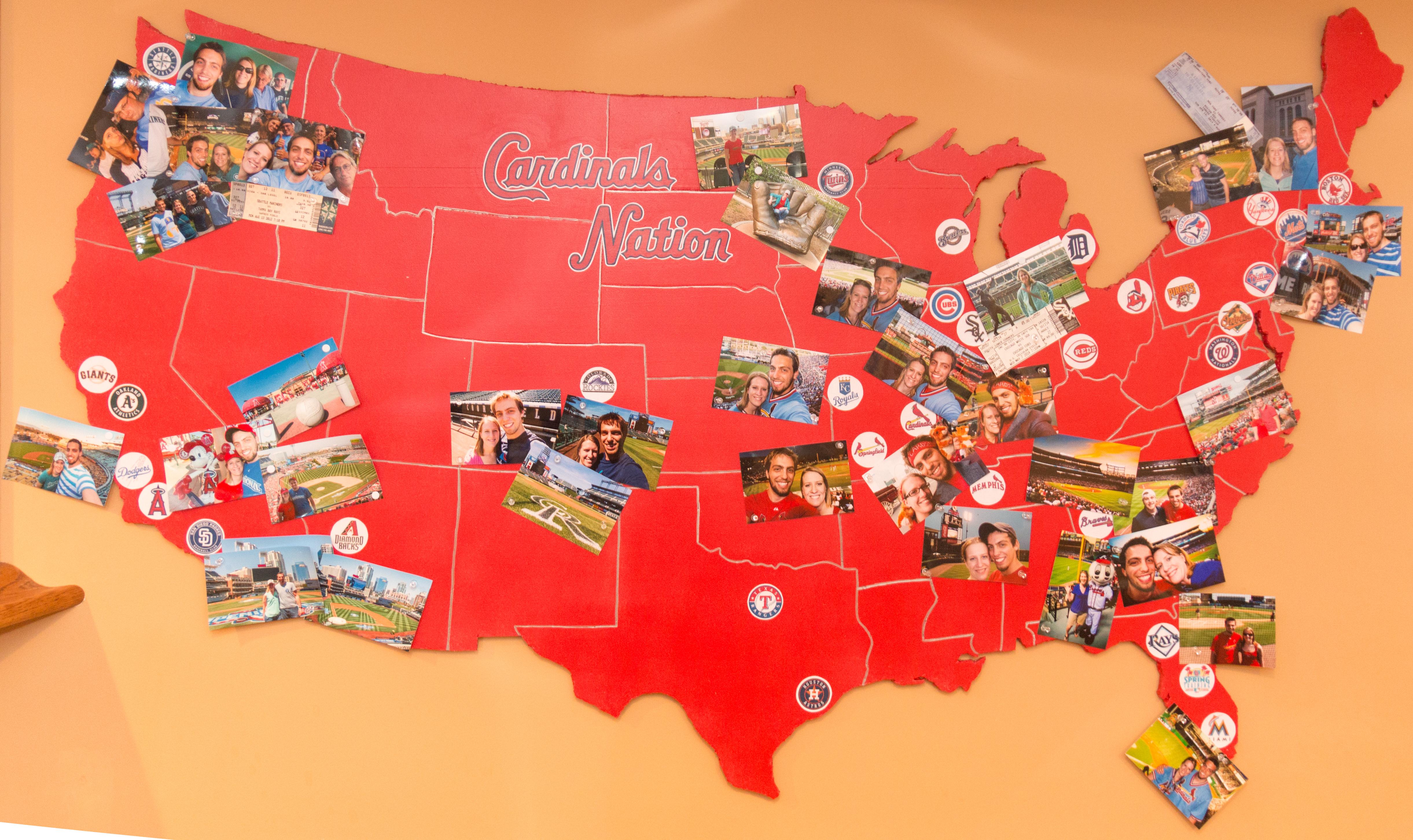 Cardinals Nation MLB Baseball Stadium Map Perfuzion - Map of us baseball stadiums