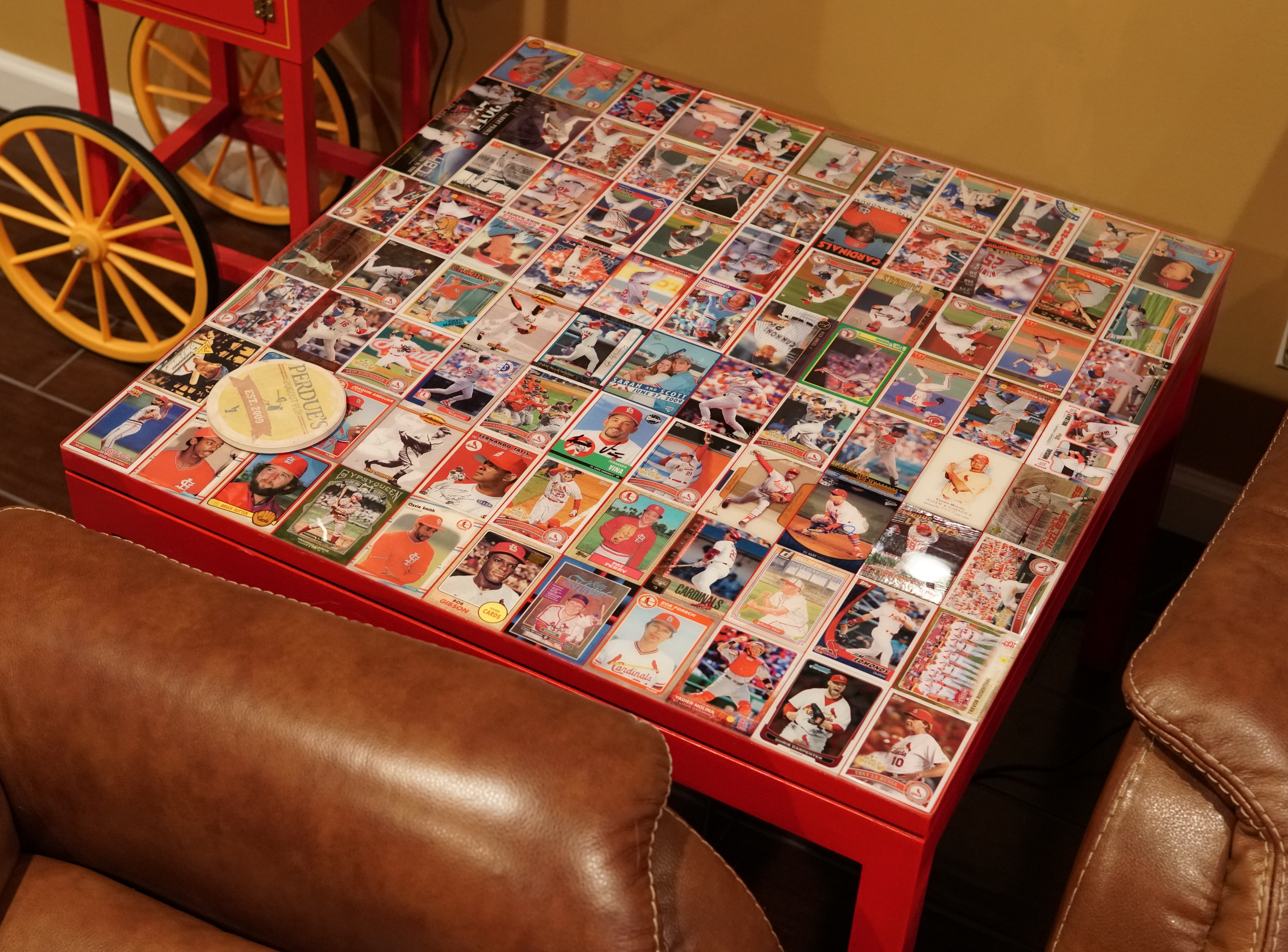 Cardinals Baseball Card Side Table Perfuzion